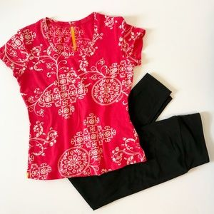 LOLE Red Paisley Geometric Athletic Yoga Top M